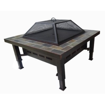 "Slate Top 34"" Square Fire Pit"