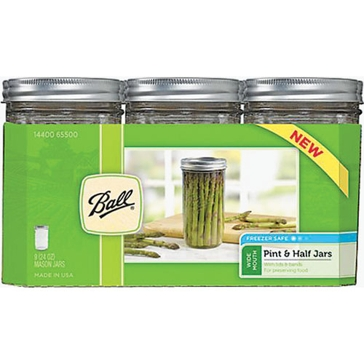 Ball 24oz Wide Mouth Pint and Half Mason Jar 9-Count