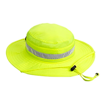 Broner Mens Yellow Hi-Viz Big Brim Bucket Hat w/Chincord