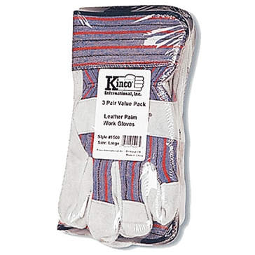 Kinco Split Cowhide Leather Palm Gloves - 3 Pack