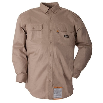 Flame Resistant Unlined Long Sleeve Button Down Workshirt Khaki