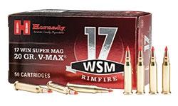 Hornady 17 Win Super Mag 20 Grain V-MAX Rimfire Ammo