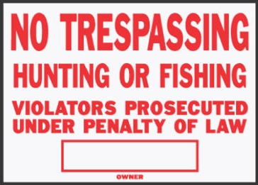 "10"" x 11"" Legal ""No Trespassing"" Aluminum Sign"