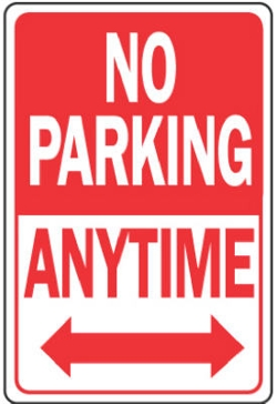 """12"""" x 18"""" """"No Parking Anytime"""" Aluminum Sign"""