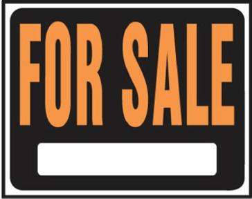 "15"" x 19"" ""For Sale"" Jumbo Plastic Sign"