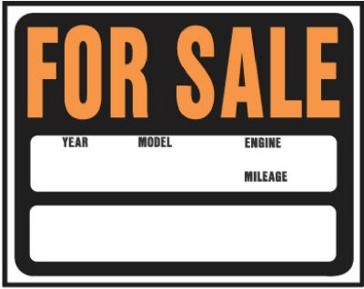 "15"" x 19"" ""For Sale"" Jumbo Plastic Auto/Boat Sign"