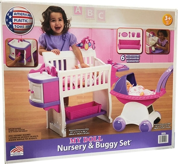 American Plastic Toys Inc. My Doll Nursery & Buggy Set