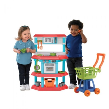 American Plastic Toys Gourmet Kitchen with Shopping Cart Playset 11680