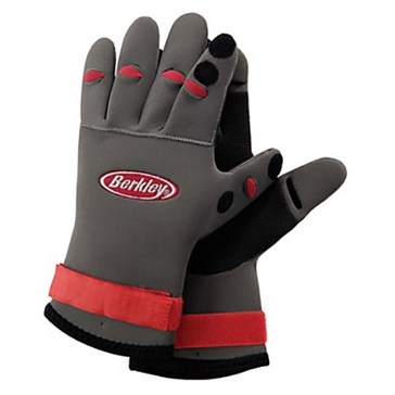 Berkley Neoprene Fishing Grey with Red Accents Gloves