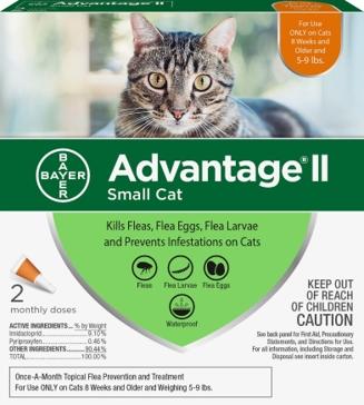 Advantage II Flea Treatment for Small Cats 5 lbs to 9 lbs