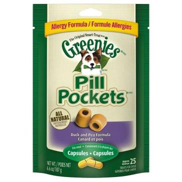 Greenies Allergy Formula Pill Pockets Duck & Pea Flavor Dog Treats for Capsules 6.6oz