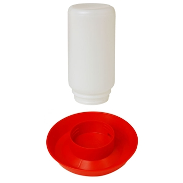 Little Giant Red Screw-On Poultry Waterer Base with 1Qt Jar