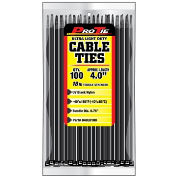Pro Tie Black Nylon 18lb Ultra Light Duty Cable Ties