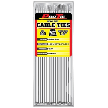 Pro Tie Natural Nylon 120lb Heavy Duty Cable Ties