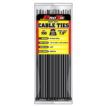 Pro Tie Black Nylon 120lb Heavy Duty Cable Ties