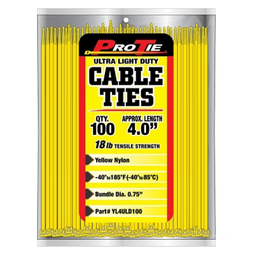 Pro Tie Yellow Nylon 18lb Ultra Light Duty Cable Ties