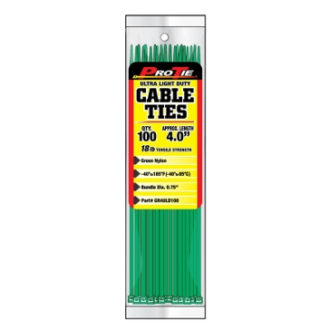 Pro Tie Green Nylon 18lb Ultra Light Duty Cable Ties