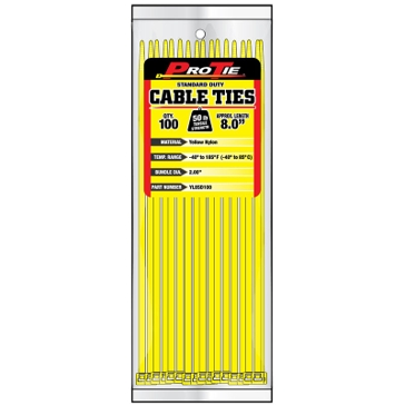 Pro Tie Yellow Nylon 50lb Standard Duty Cable Ties