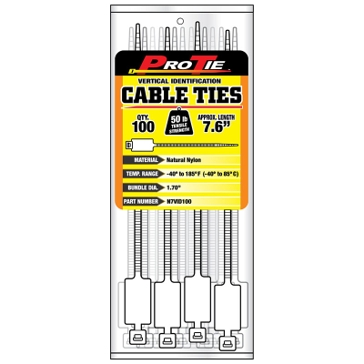 Pro Tie 50lb Vertical Identification Cable Ties