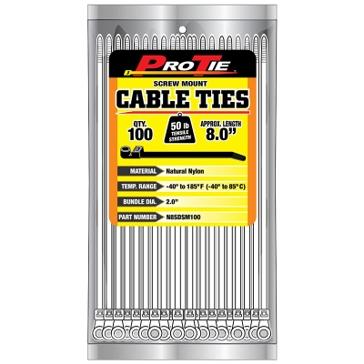 Pro Tie Natural Nylon 50lb Screw Mount Cable Ties
