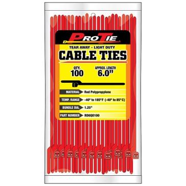 Pro Tie Red Nylon EZ-OFF Light Duty Cable Ties