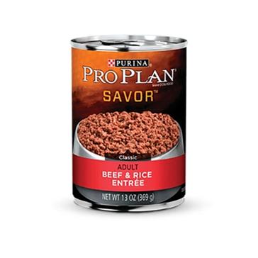 Purina Pro Plan Savor Adult Beef & Rice Entrée Wet Dog Food 13oz