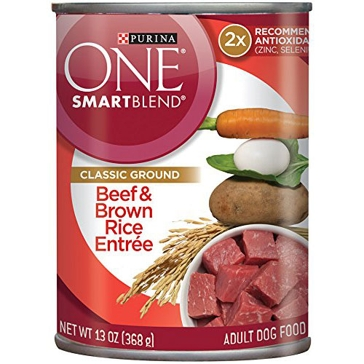 Purina One Smartblend Adult Beef & Brown Rice Entrée Wet Dog Food 13oz