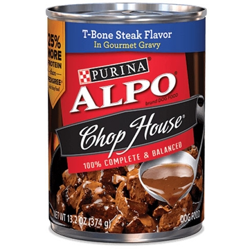 Purina Alpo Chop House T-Bone Steak Flavor in Gourmet Gravy Wet Dog Food 13oz