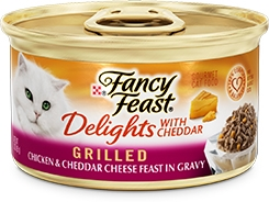 Fancy Feast Delights with Cheddar Grilled Chicken & Cheddar Cheese Feast in Gravy 3oz.