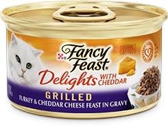 Fancy Feast Delights with Cheddar Grilled Turkey & Cheddar Cheese Feast in Gravy 3oz.