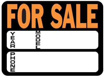 Hy-Ko 9in x 12in Car For Sale Plastic Sign 3031