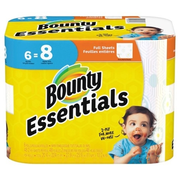 Bounty Essentials 6PK White Paper Towel Rolls