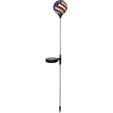 Alpine Solar Powered Mosaic USA Flag Garden Lights