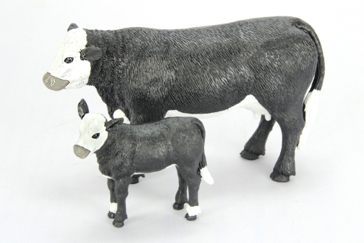 Big Country Toys Black Baldy Cow and Calf Set