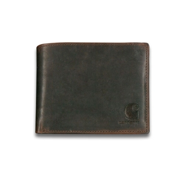 Carhartt Mens Leather Passcase Oil Tan Wallet w/Collectible Tin