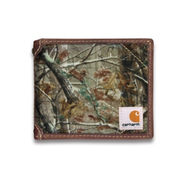 Carhartt Mens Canvas Passcase Wallet w/Collectible Tin Brown Camo