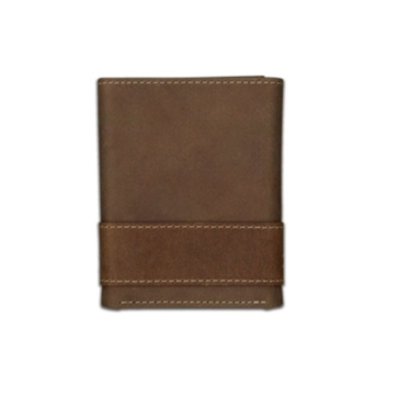 Carhartt Mens Leather Two-Tone Trifold Wallet w/Collectible Tin Brown