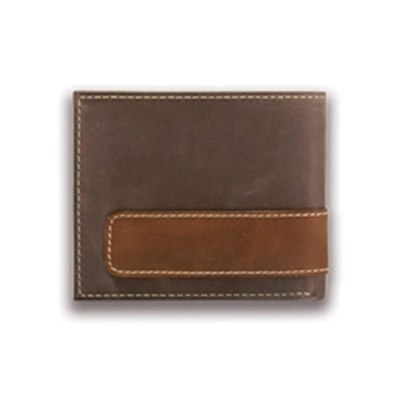 Carhartt Mens Leather Two-Tone Billfold Wallet w/Collectible Tin Brown