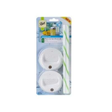 Ball Wide Mouth White Sip & Straw Lids 4-Count