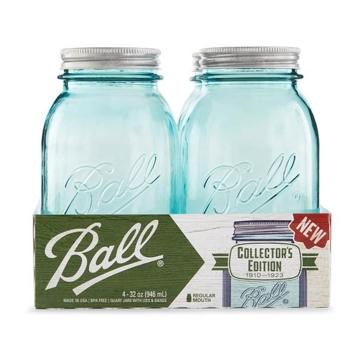 Ball 16 Oz. Aqua Vintage Pint Regular Mouth Jars - 4 Pk.