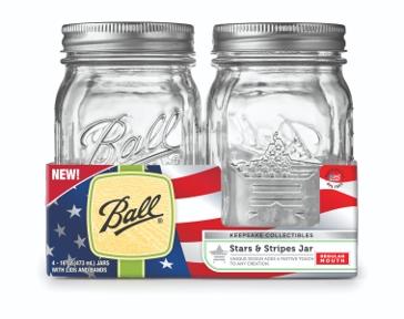 Ball 16 Oz. Regular Mouth Pint Stars & Stripes Mason Jars- 4 Pk.