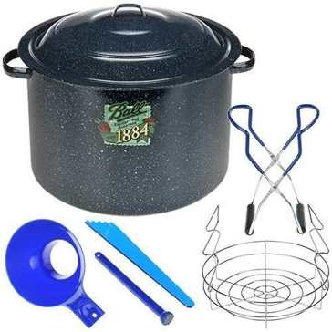 Ball Enamel Water Bath Canner with Rack and Utensil Set
