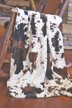Carstens Cowhide Plush Faux Fur Throw