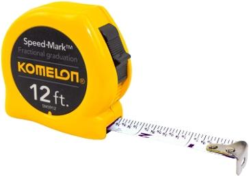 Komelon SM3912 Speed Mark Tape Measure 12-Feet by 5/8-Inch, Yellow Case