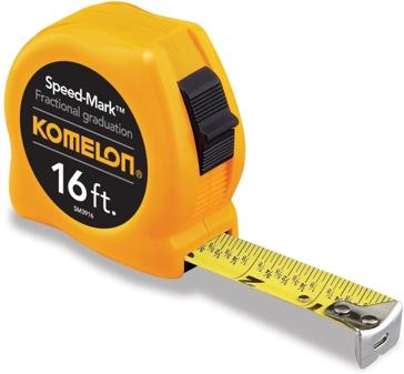 Komelon SM3916 Speed Mark Tape Measure 16-Feet by 3/4-Inch, Yellow Case