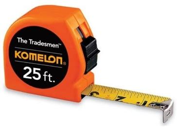 Komleon T3725 The Tradesmen Steel Blade Tape Measure 25 Feet by 1-Inch, Orange Case