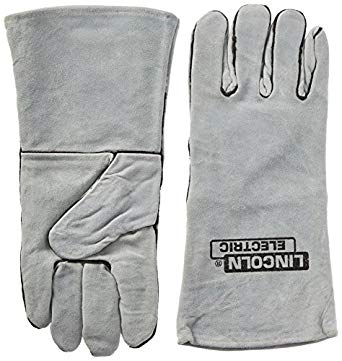 Lincoln Electric Gray Leather Welding Gloves KH641 Cloth Lined