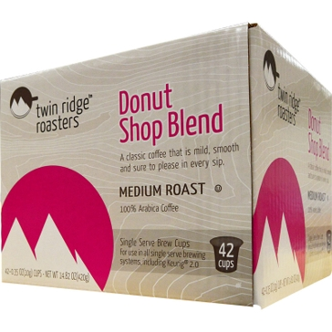 Twin Ridge Roasters 42 K-Cups Donut Shop Blend Single Serve Coffee