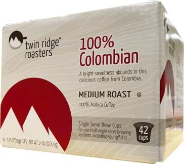 Twin Ridge Roasters 42 K-Cups Colombian Single Serve Coffee