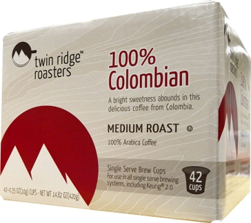 Twin Ridge Roasters 42 K-Cups Colombian Single Serve Coffee